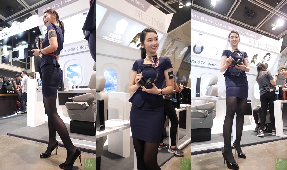 黃靜藍 Nam Wong - 黑絲短裙空姐 Look 1 @ 香港高級視聽展 2017