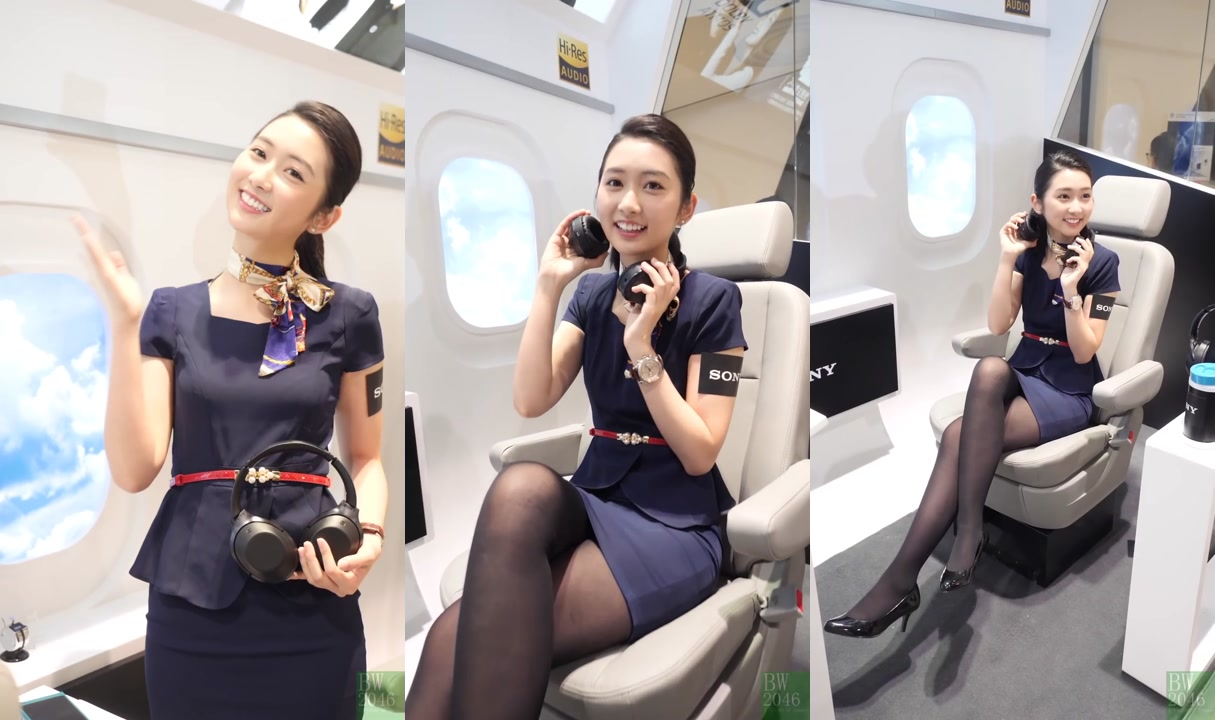 黃靜藍 Nam Wong - 黑絲短裙空姐 Look 2 @ 香港高級視聽展 2017