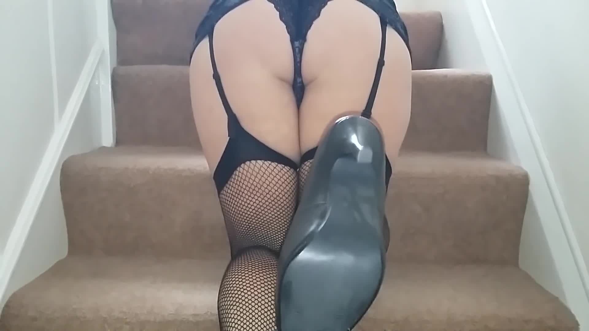 Stilettos and fishnets with a little more!!